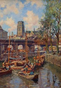Hendrik Schaap -  Delft 1878 - Rotterdam 1955 -  'Havengezicht Rotterdam'