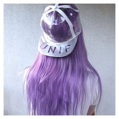 Hat: violet purple hair daniella cool girl style unif cap pastel hair... ❤ liked on Polyvore featuring unif