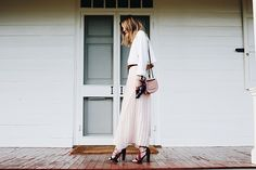 pretty pleated pale pink skirt