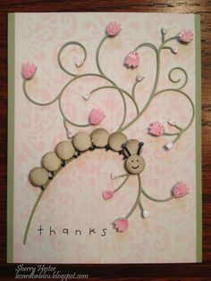 Happy Caterpillar ~ made with that new die from Poppystamps, along with the Beverly Vine die and Memory Box stencil...Flourish.  Cute card by Sherry H, DT member.  Dies and stencils are available at www.stampassion.com