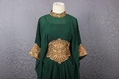 Lujo verde caftán vestido de Kaftan Maxi Abaya hechos a mano   Etsy Bell Sleeves, Bell Sleeve Top, Dance Dresses, Iris, Clothes, Women, Fashion, Clothing Templates, Dress