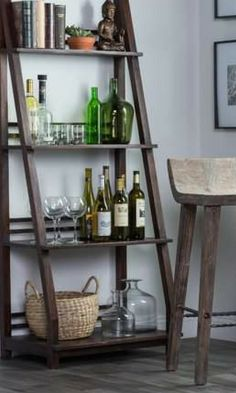 Awesome shelf and matching stool! This would be great in the corner. #rustic #homedecor #farmhouse #livingroomideas #barstools