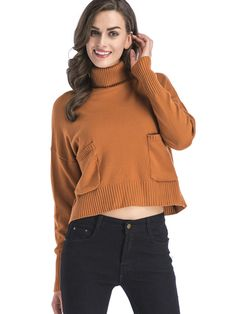 High-Necked Casual Sweater Women Warm Loose Pocket Solid Short Pullovers - OneBling