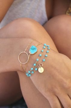 Boho Chic Turquoise slice bracelet, Gold filled double chain bracelet, gold Electroplated Ed Trendy Bracelets, Diamond Bracelets, Gemstone Bracelets, Gemstone Beads, Ankle Bracelets, Wrap Bracelets, Silver Bracelets, Diamond Rings, Layered Bracelets