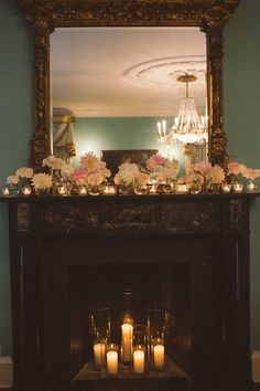 Similar to idea for fireplace  Charleston, South Carolina Wedding at The William Aiken House from Paige Winn Photo