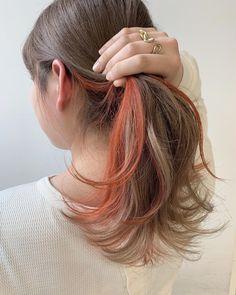 Inner color x milk color is coming ♡ Harajuku store kind . Two Color Hair, Hidden Hair Color, Hair Color Streaks, Ombre Hair Color, Cool Hair Color, Hair Highlights, Peekaboo Hair Colors, Underlights Hair, Aesthetic Hair
