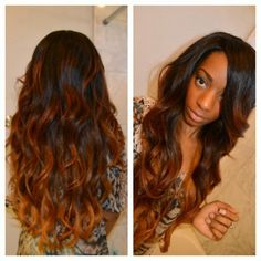 curly brown ombre hairstyle with 18 inch extension clip on for short hair