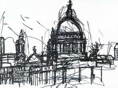 John Virtue - London drawing Artist in Residence National Gallery Fantasy Landscape, Urban Landscape, Landscape Art, Landscape Design, Banksy, London Drawing, Vanellope, Building Art, A Level Art