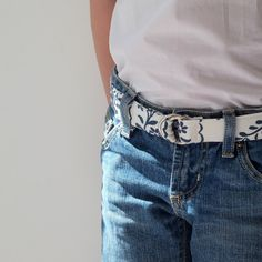 Pretty Girl's Belt with Navy and White Flowers in Sister Parish Cotton by LilaKids, $24.00