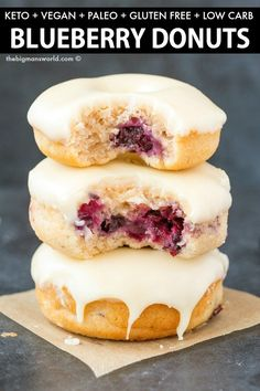 Baked Blueberry Donuts recipe made with NO yeast, NO sugar and NO dairy! Cake like donuts with a tender exterior, topped with a delicious glaze! #vegandonuts #donuts #ketodessert #eggless