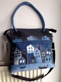 Rainy Amsterdam big shoulder tote bag patchwork by HelenBudniatsky