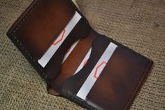 mens leather wallet brown bifold wallet front by LeatherwalletsTS