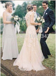 c269a5e4dca90f Goedkope 2015 Champagne Romantische Strand Jurken V hals Kapmouwtjes Bruids  Bruidsjurk Vintage Een Lijn White Lace
