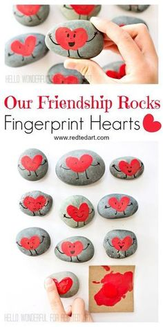 """Our Friendship Rocks"" - what more is there to say? Gorgeous Fringerprint Heart Rocks for Valentines. The perfect Classroom Valentines Gift to make with kids day party for kids crafts Friendship Rocks for Valentine's - Red Ted Art Valentine's Day Crafts For Kids, Valentine Crafts For Kids, Valentines Day Activities, Valentines Day Party, Craft Activities, Gifts For Kids, Valentine Sayings, Valentine Gifts Ideas, Children Crafts"