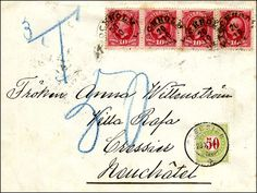 Sweden 1894.50 Rp.-Strafporto (SBK 20BN, cancelled CRESSIER 22. X. 94 on about 20 øre too little franked $6 the 2. Gew. Step from Sweden to Switzerland  Lot condition   Dealer Jean-Paul Bach  Auction Starting Price: 300.00 CHF