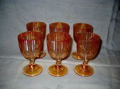 "Set of 6 Jeannette Iridescent Glass Iris & Herringbone 4"" (3 oz.) Wine Goblets picclick.com"