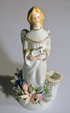 """Transylvanian Porcelain """"Angel with Harp"""" Candle Holder with Gold Trimming"""
