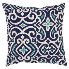 Pillow Perfect Decorative Blue/White Damask Square Toss Pillow | Overstock.com Shopping - Great Deals on Pillow Perfect Throw Pillows