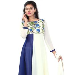 8a77701405 White And Blue Printed Georgette Anarkali Suit. Sujatha Menon · Indian wear