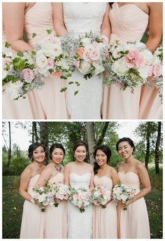 Bouquets for this blush pink white garden wedding: soft blush with dusty millers in sage green, with spray and garden roses with ivory and blush palette.   {Meredith McKee Photography} See more: http://www.confettidaydreams.com/blush-gold-watercolor-outdoor-seattle-wedding/