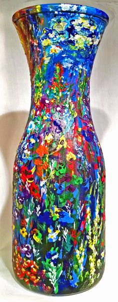 """""""Wildflowers in Bloom"""" is a beautiful hand painted abstract painting of a variety of wildflowers in full bloom displaying their vibrant colors surrounding a Glass Flower Vase in 360 degree's. - View 3"""