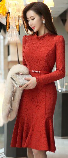 StyleOnme_Floral Lace Mermaid Hem Dress #floral #lace #flounced #dress #orange #elegant #feminine #formal #classy #koreanfashion #kstyle #seoul #kfashion #wintertrend #dress