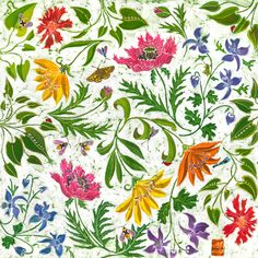 Fine art print of flowers typically found in a British summer garden. Floral giclee print from an original batik. Flower Wall, Flower Prints, Batik Prints, Sign Printing, Summer Garden, Wallpaper S, Wall Murals, Fine Art Prints, Floral