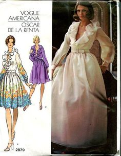 FREE US SHIP Vogue 2879 Designer Oscar de la Renta American Evening Length Ruffle Dress Uncut Vintage Retro 1970s 70s Size 10 Bust 32.5 by LanetzLivingPatterns on Etsy