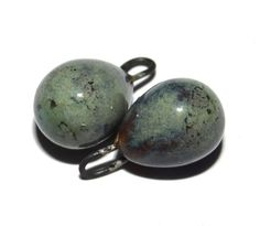 Ceramic Earring Charms Drops Pair Handmade Grey Blue by Grubbi