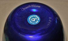 Gorgeous BLUE AURENE Signed ORIENT FLUME Glass VASE w/ LABEL Iridescent RHAPSODY