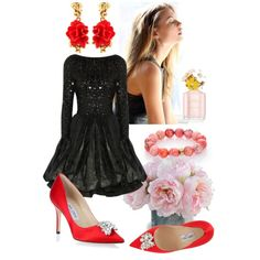 A fashion look from December 2014 featuring Alice + Olivia dresses, Jimmy Choo pumps and Oscar de la Renta earrings. Browse and shop related looks.