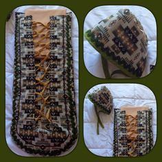 Beige/green moss bag Native American Dress, Native American Crafts, Sewing Diy, Sewing Ideas, Sewing Projects, Ribbon Skirts, Make And Sell, How To Make, Native Art