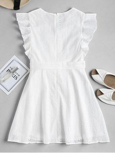 Ruffle Broderie Anglaise Party Dress Ruffle Broderie Anglaise Party Dress - WHITE M Sexy Dresses, Cute Dresses, Casual Dresses, Fashion Dresses, Work Dresses, Mini Dresses, Summer Dresses, Mode Outfits, Dress Outfits