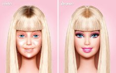 Barbie without makeup. I just died lol To be a little more realistic no-make up barbie needs at least a couple lashes. Still funny though :) Jane Fonda, Haha, Barbie Makeup, Makeup Toys, Makeup Stuff, Make Up Videos, Pat Mcgrath, Without Makeup, Celebs