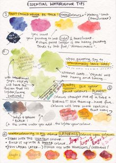 Visual Painting Tutorial - Essential Watercolor TipsWatercolor basic techniques Scan an example handout for the kids so they can remember all of the tips and techniquesGreat watercolor tips.a great idea to add tips and things I learn to my…Essentia Watercolor Beginner, Watercolor Tips, Watercolour Tutorials, Watercolor Flowers, Watercolor Classes, Watercolor Mixing, Watercolor Journal, Watercolor Landscape, Abstract Landscape