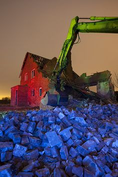 Love how the photographer used color effects to turn this demolition picture into art! #demolition #photography