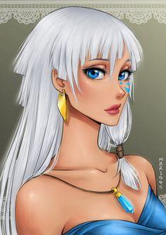 Princess Kida - Atlantis: The Lost Empire - Disney Girls Drawn Anime Style Anime Disney Princess, Anime Princesse Disney, Princess Kida, Disney Princess Drawings, Disney Drawings, Disney Girls, Disney Anime Style, Brave Princess, Drawing Disney