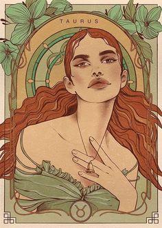 Graphic Design Illustration, Illustration Art, Art Sketches, Art Drawings, Taurus Art, Zodiac Characters, Fictional Characters, Alphonse Mucha Art, Zodiac Art