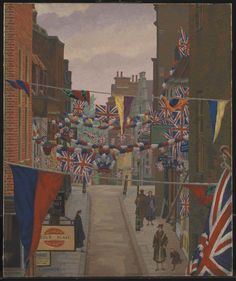 'Flask Walk, Hampstead, on Coronation Day', Charles Ginner, 1937 | Tate