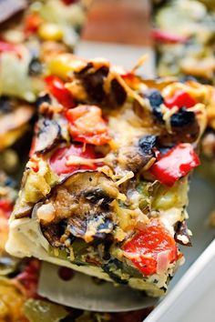 An easy, make ahead veggie loaded breakfast casserole recipe that's easy to customize to your liking! Hash browns and vegetables make this super filling!