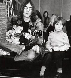 Singer John Lennon with son, singer Julian Lennon.
