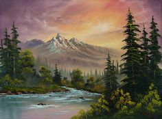 Choose your favorite bob ross paintings from millions of available designs. All bob ross paintings ship within 48 hours and include a money-back guarantee. The Joy Of Painting, Mountain Sunset, Mountain Art, Beautiful Paintings, Beautiful Landscapes, Landscape Art, Landscape Paintings, Sunset Paintings, Nature Paintings