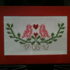 A wedding anniversary card #crossstitch