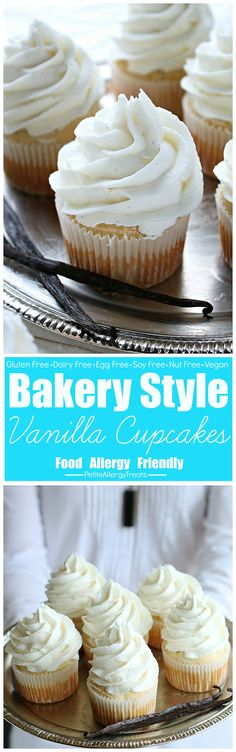 Bakery Style Food Allergy Friendly Vegan Gluten Free Vanilla Cupcakes. Real vanilla bean. Dairy free frosting, egg free. Allergy Amulet detection device.