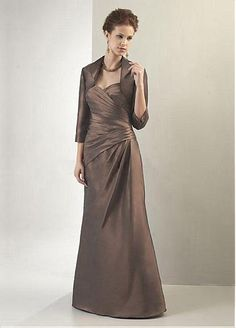 Wonderful Taffeta A-line Strapless Sweetheart Neckline Floor Length Pleated Mother of the Bride Dress