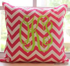 Preppy Pink and Green.. monogram! Select your fabric, font, color and style! We'll ship it to you ..Decor 2 Ur Door!