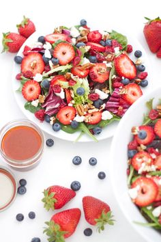 Berries and Feta Salad | www.reciperunner.com | A beautiful salad for your #Easter table!