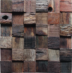 Squared wooden mosaic tiles. They all have the nail holes and the same measurement and color with the previous one.The only difference is the uneven surface. favor is deffer from person to person. More details :  http://www.tstmosaictiles.com/index.php?route=product/product&path=25_71&product_id=67
