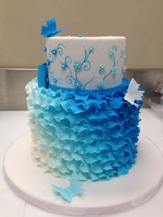 An amazingly beautiful cake   http://cakecentral.com/g/i/3043563/a/3370333/birthday-cakes/?utm_source=facebook_medium=post_content=ombre-ruffles_campaign=web-featured