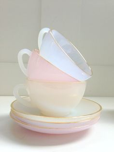 Vintage Tea Cups - Pastel & Transparent Colours - Home Deco - Interiors Pretty Pastel, Cup And Saucer, French Vintage, Tea Time, Tea Party, Delicate, Retro, Gifts, Pastels